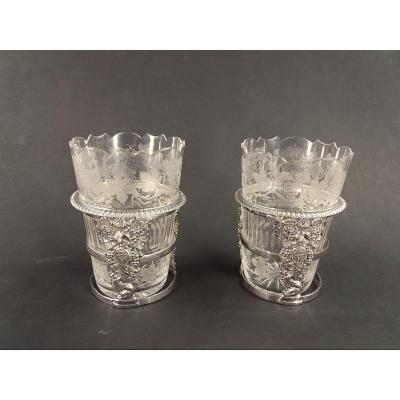 Pair Of Silver Palm Game Cup Holders Under The Empire