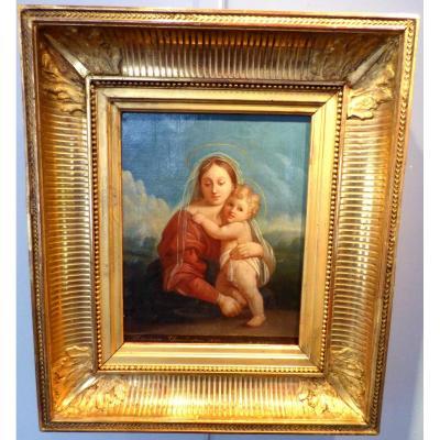 Tableau Huile Sur Toile Vierge à l'Enfant époque19ème