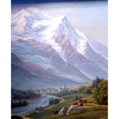 Paire De Tableaux Le Mont Blanc Et Chamonix Fin 19ème