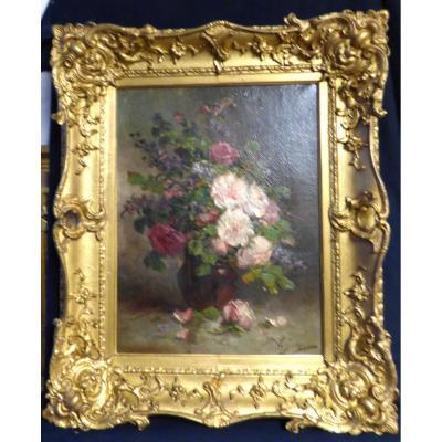 Tableau De Fleurs Signé Gaby V d'époque 19ème