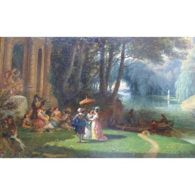 Garneray Hippolyte paysage animé