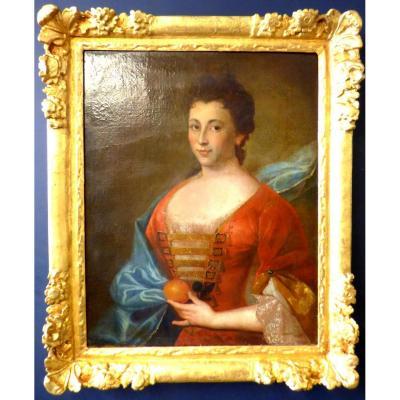Portrait Dame De Qualité époque Fin 17ème