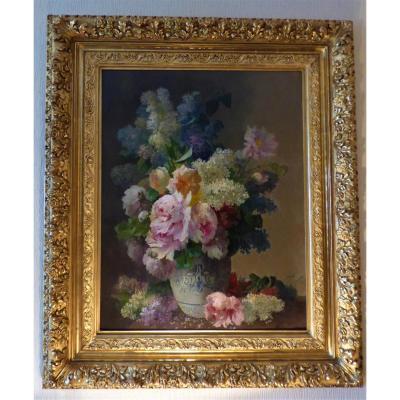 Composition Florale Pivoines Et Lilas époque 19ème