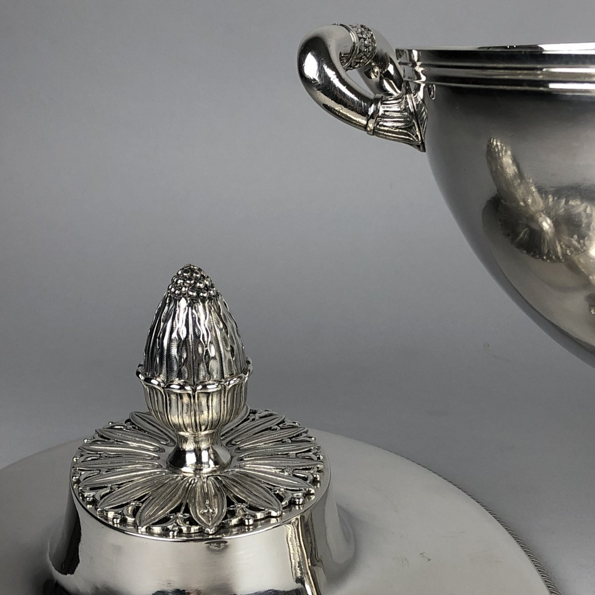 Soup Tureen In Silver, Empire Period, By Odiot In Paris.-photo-4