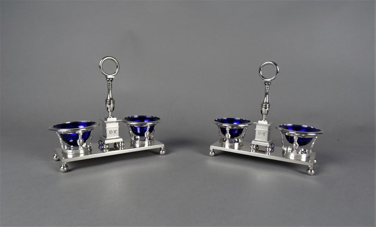 Pair Of Double Salt Shakers In Sterling Silver - Restoration Period