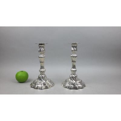 Pair Of Candlesticks In Silver 18th Century. Lille 1784