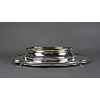 Planter And Its Table Top In Sterling Silver - Belgian.