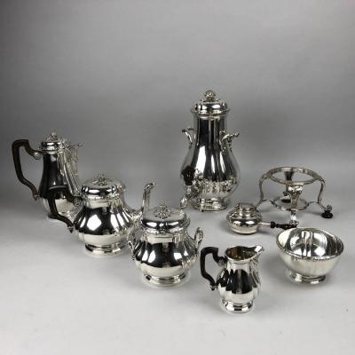 Tea And Coffee Service In Sterling Silver, Bointaburet.