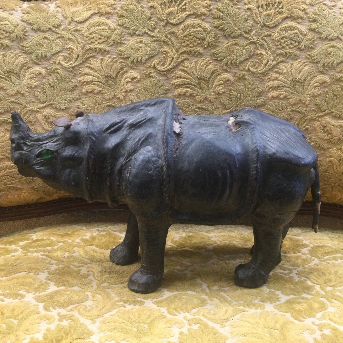Rhinoceros In Repoussé Leather Mid 19th Century