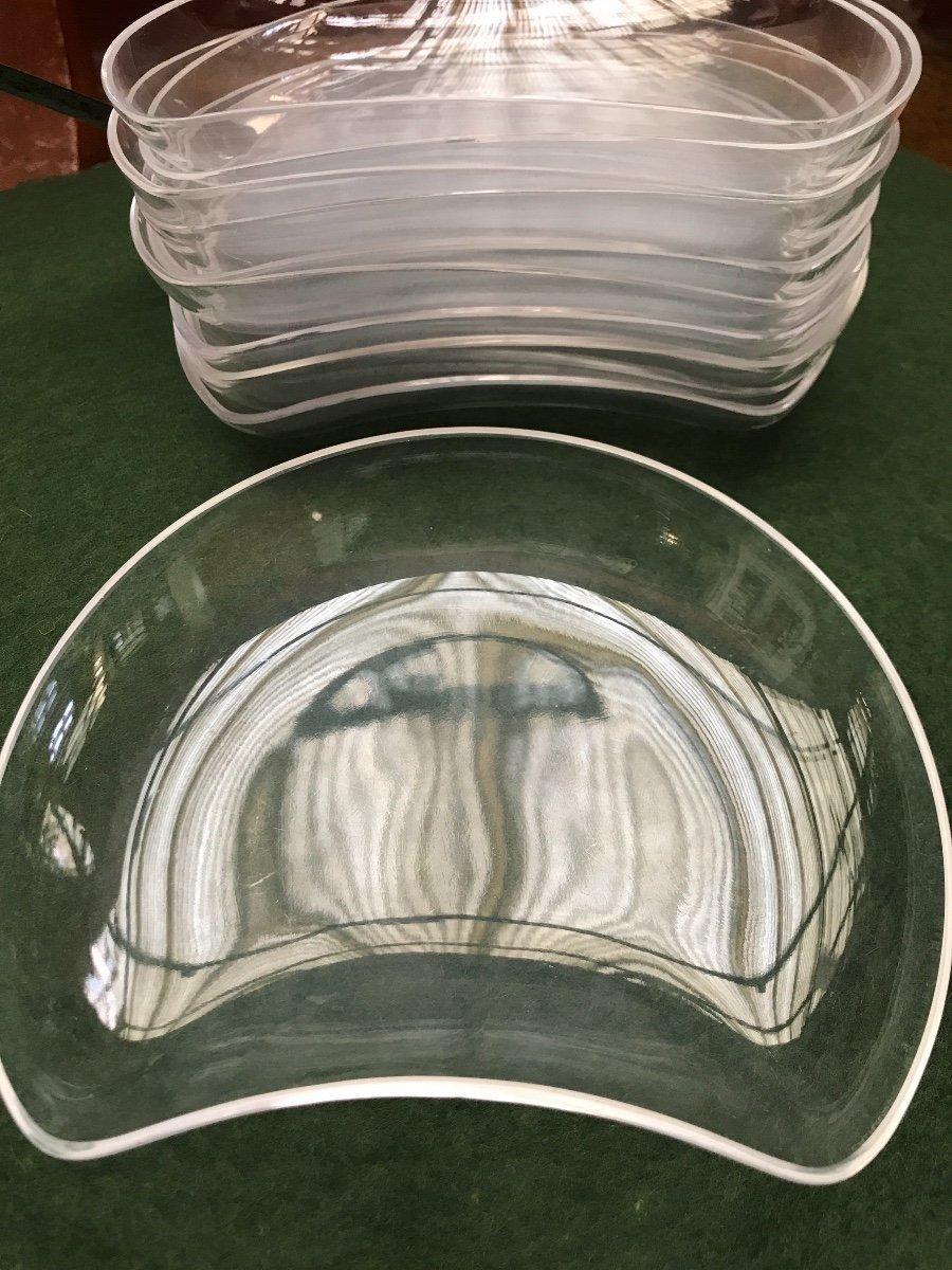 Assiettes En Cristal Lalique Modèle Antibes -photo-3
