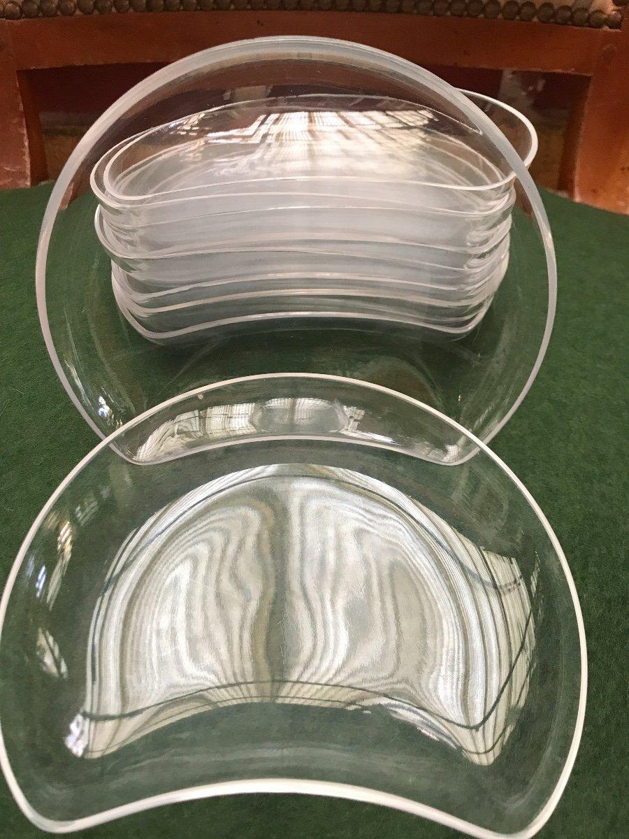 Assiettes En Cristal Lalique Modèle Antibes -photo-4