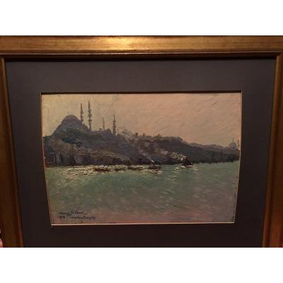Oil View Of Constantinople Signed Henry Valensi
