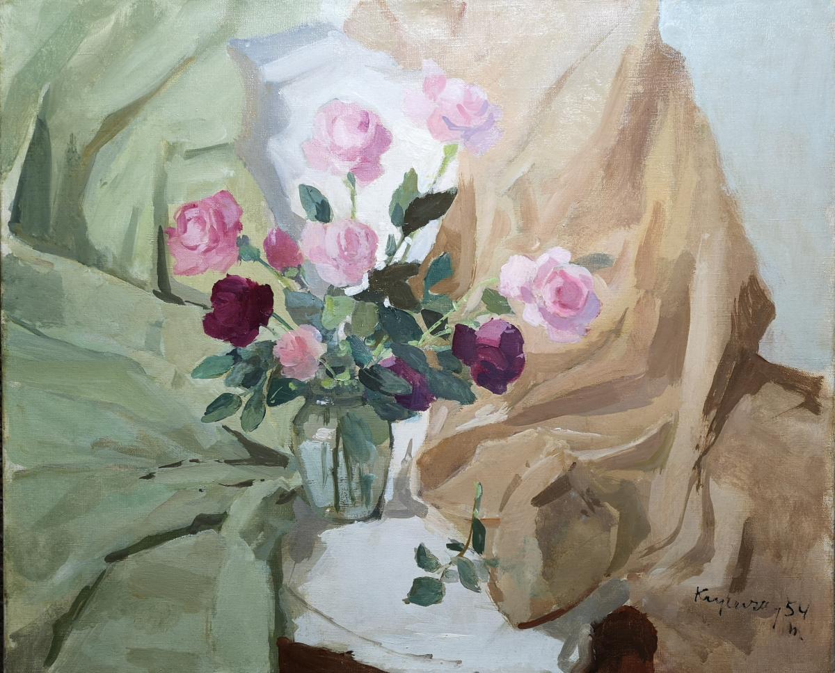 """Nicolas Krycevsky Николай Кричевский  """"les Roses """" """" Розы""""60x73cm  Huile Sur Toile 1954"""