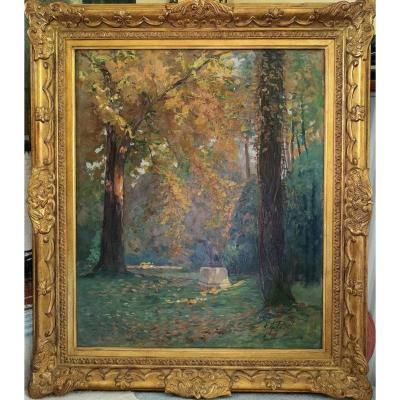 """Pavil Elie (1873-1944) russe  'le Parc"""" Huile Sur Toile 65x54cm"""