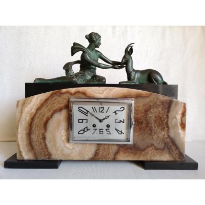 Lavroff G. Sculpteure Russe Art Deco Pendule Femme Et Gazelle