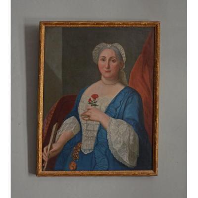 Portrait Femme à l'œillet. 18ème Siècle