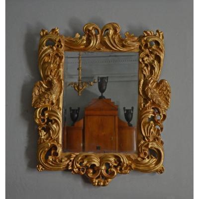 Miroir Baroque En Bois Doré 18ème Siècle