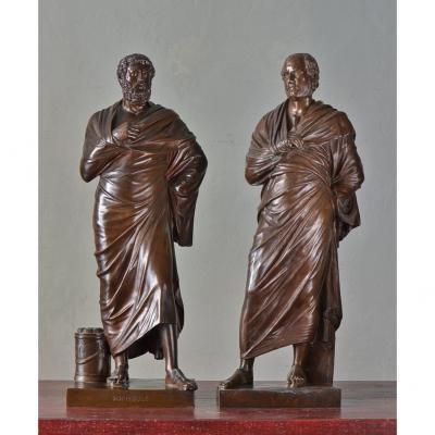 Paire De Bronzes. Sophocle Et Démosthène.64cm