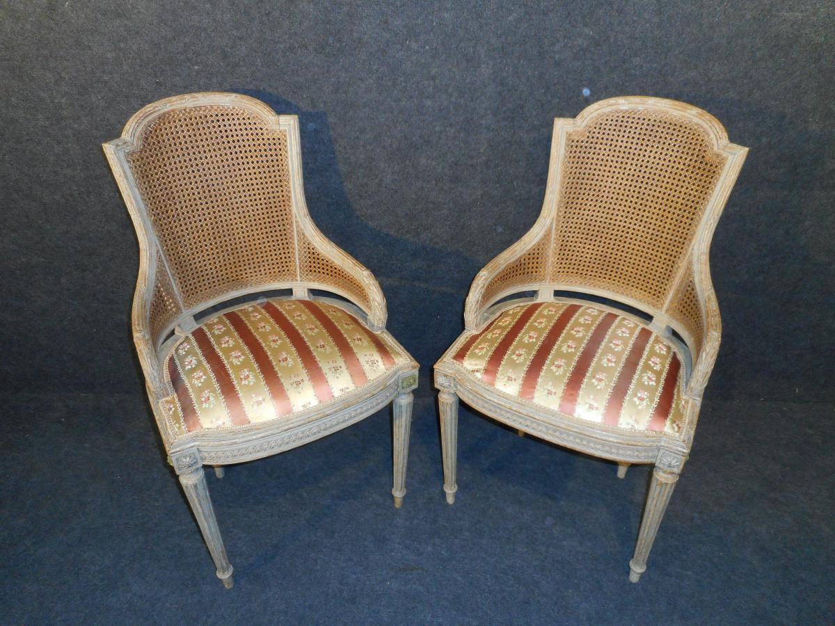 paire de fauteuil style louis xvi poque napol on iii fauteuils. Black Bedroom Furniture Sets. Home Design Ideas