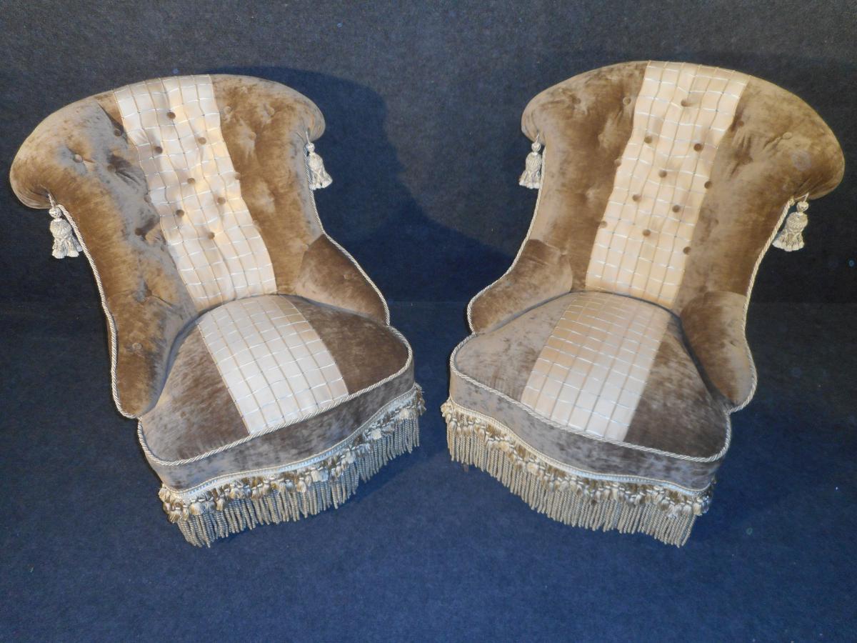 paire de fauteuil napol on iii en velours capitonn e poque napol on iii retapiss l 39 ancienne. Black Bedroom Furniture Sets. Home Design Ideas