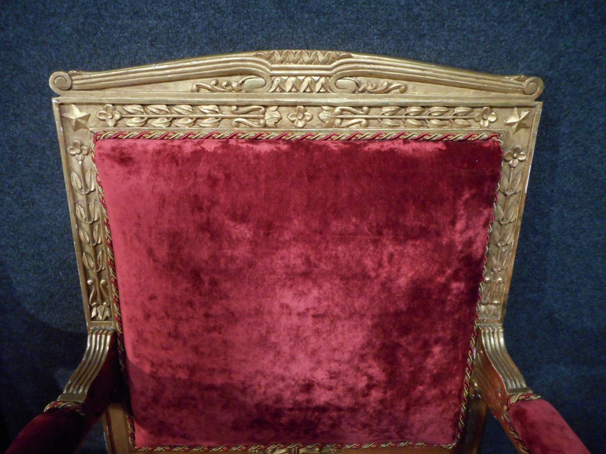 Salon En Bois Doré Début XIXème Retapissé à l'Ancienne-photo-4
