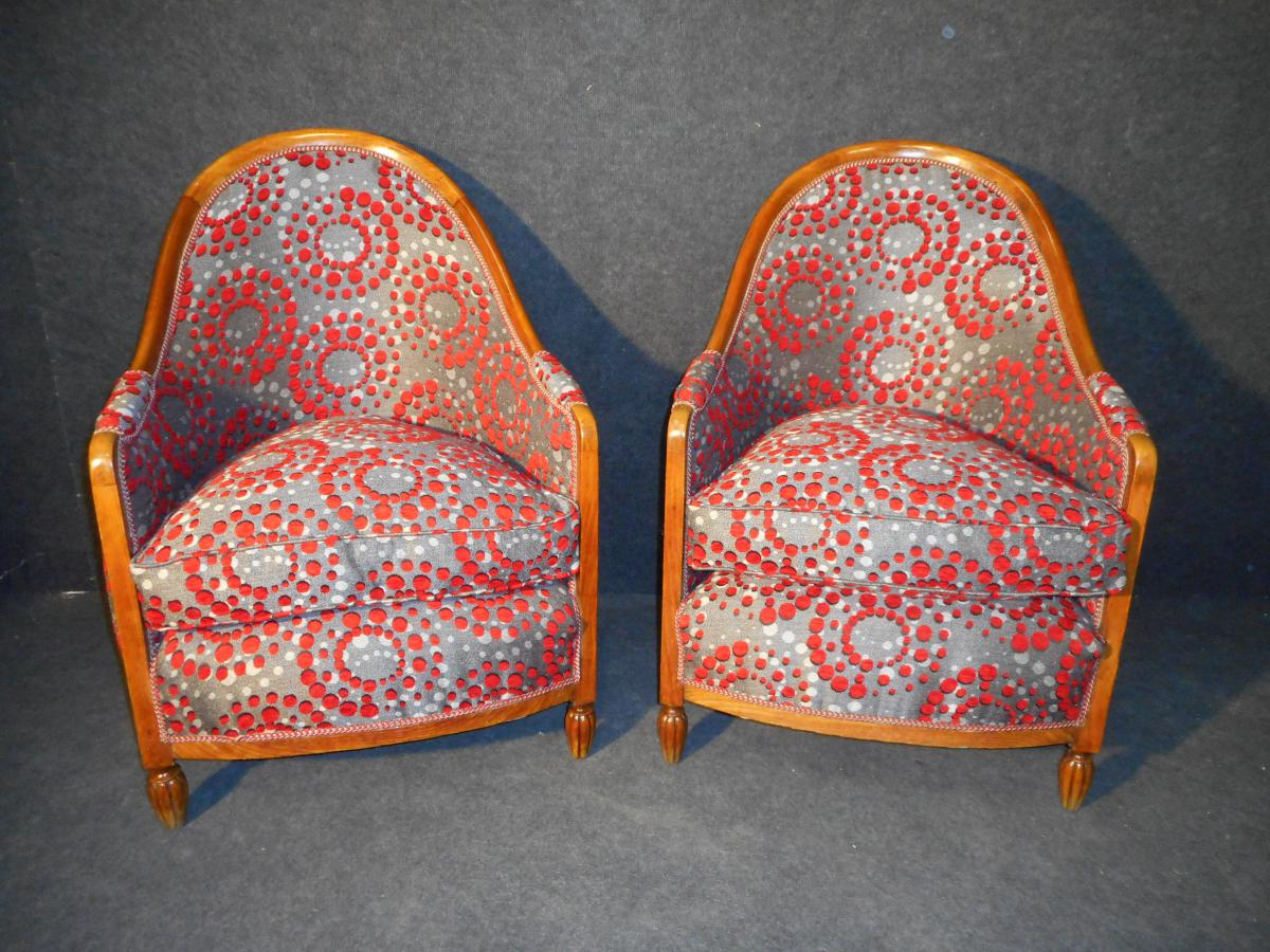 Armchair Art Deco Pair Eventful Time In Beech Completely Retyped