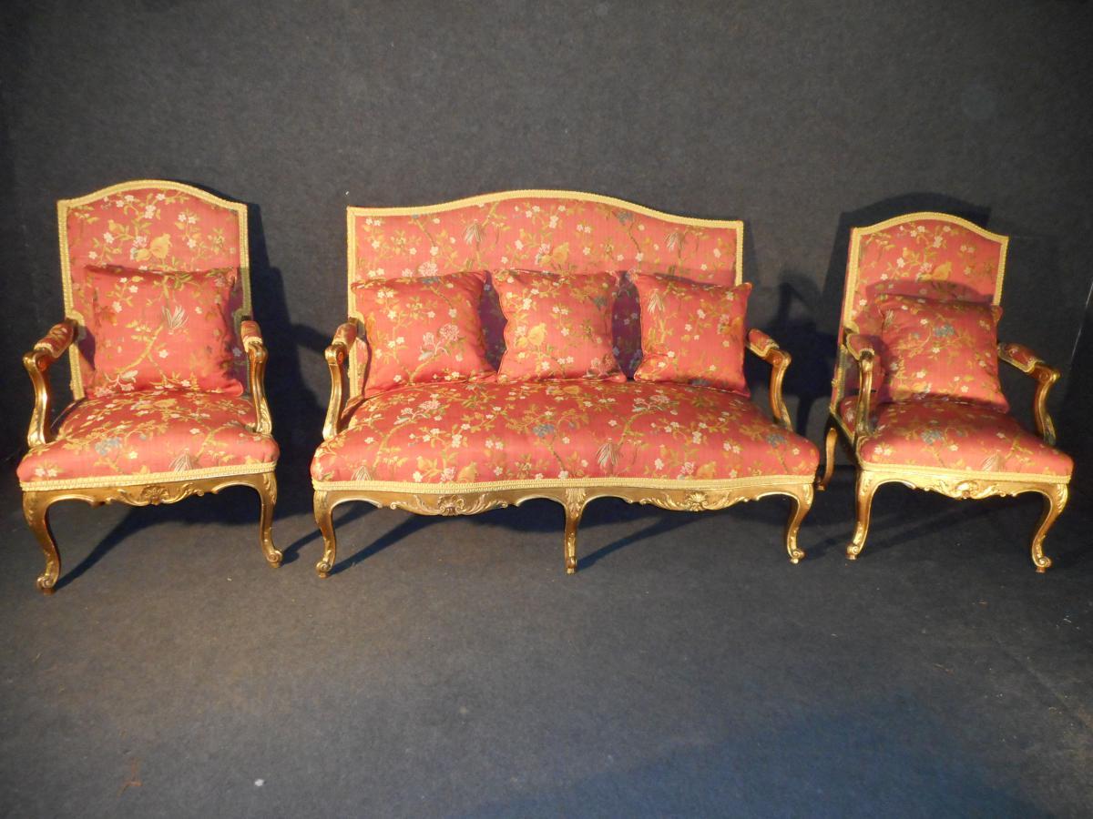 Ensemble De Salon En Bois Doré époque XIX De Style Régence