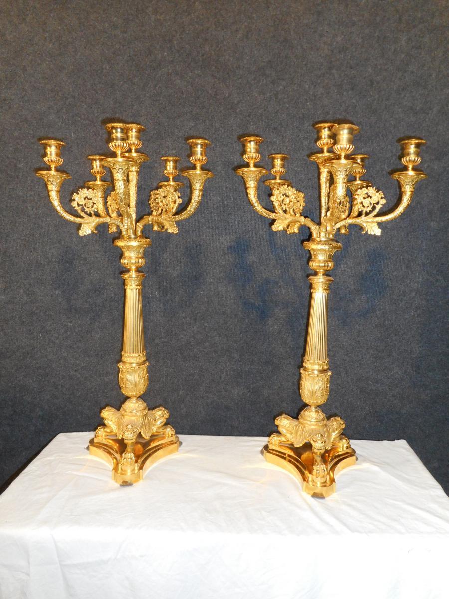 grande paire de bougeoir poque empire en bronze dor bougeoirs chandeliers. Black Bedroom Furniture Sets. Home Design Ideas