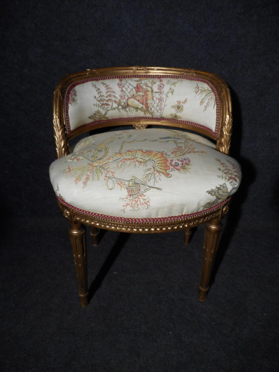Pair Of Small Armchairs Extra Time Nineteenth In Golden Wood-photo-2