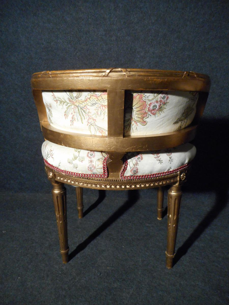 Pair Of Small Armchairs Extra Time Nineteenth In Golden Wood-photo-4