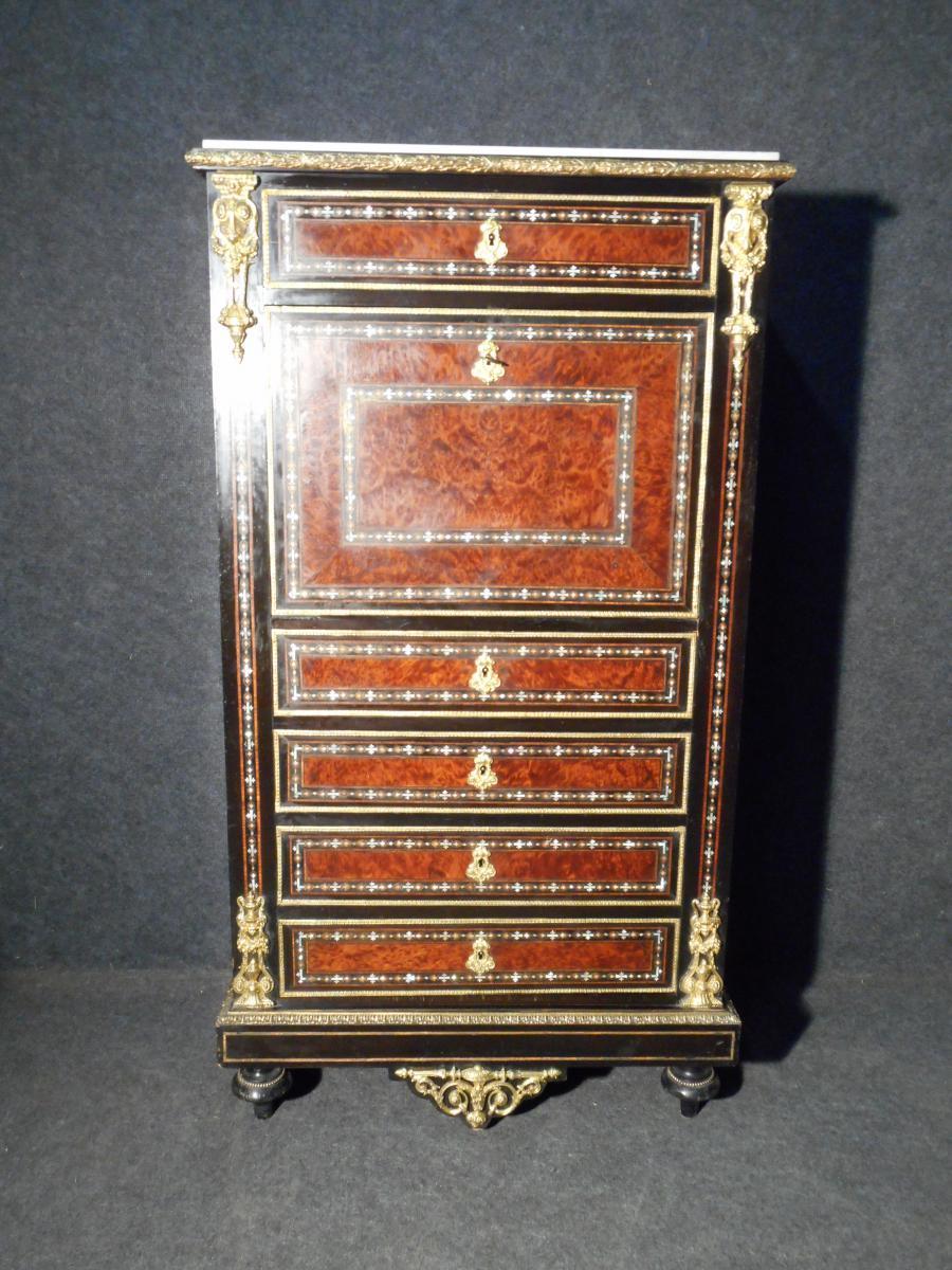 Sercretaire époque Napoléon III En Marqueterie De Nacre Et Bronze Doré