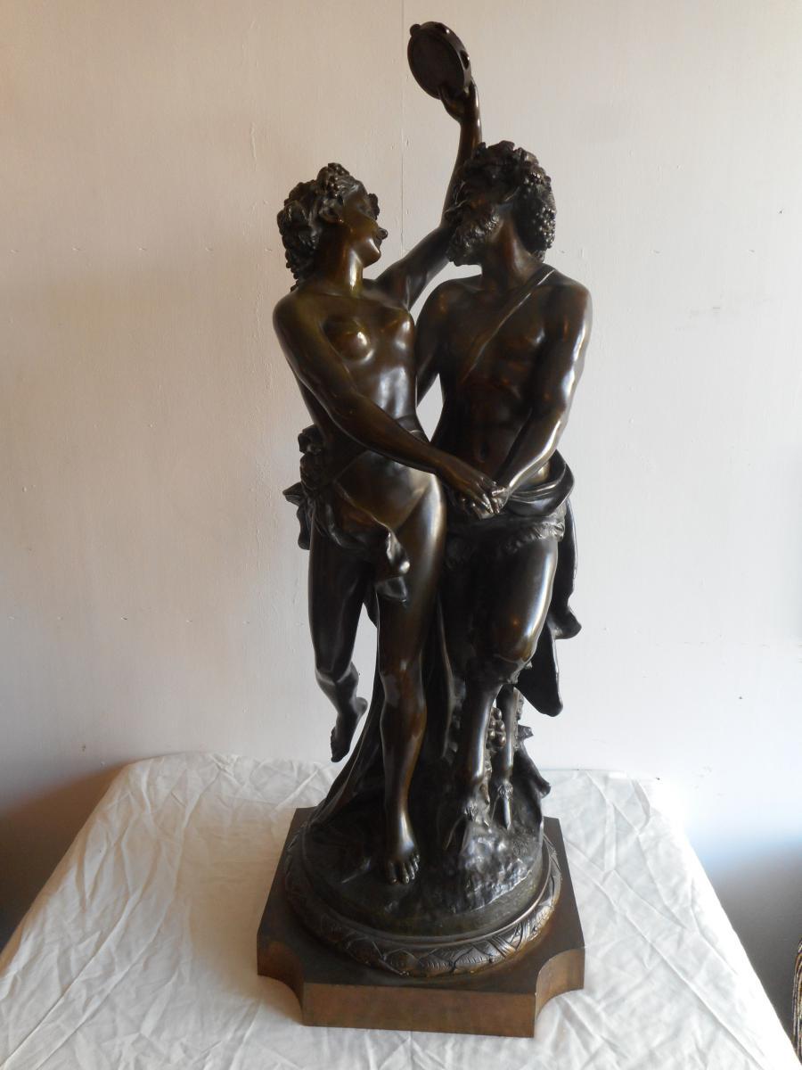 Grand Groupe En Bronze époque XIXème Signé Clodion 93cm