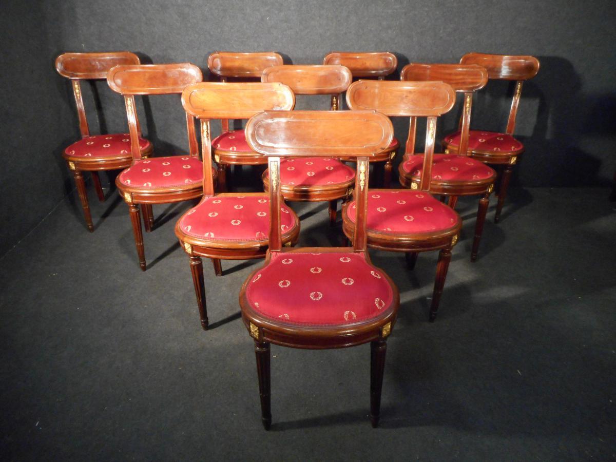 Serie De Dix Chaises En Acajou De Cuba Et Bronze Doré époque XIXème
