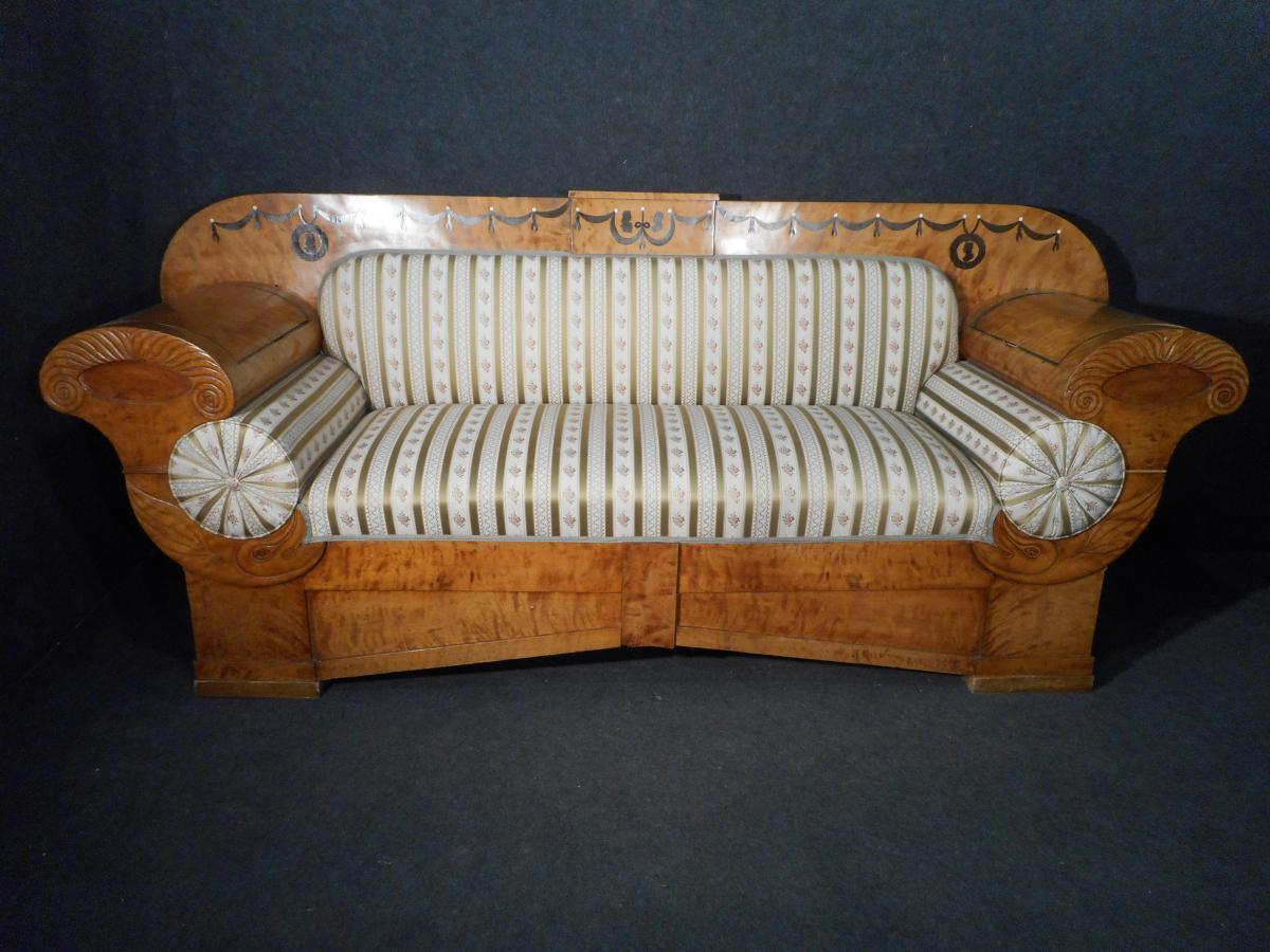 Sofa sycamore xixth biedermeier benches sofa Sofa biedermeier