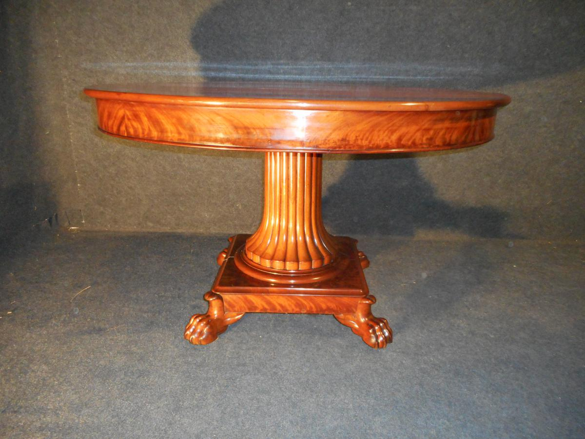 Table Pied Centrale En Acajou De Cuba époque Empire Estampillé