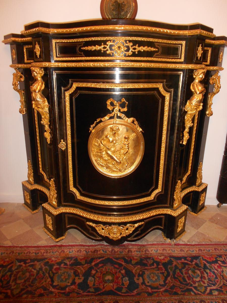 Buffet Galbé époque XIX Bronze Doré Et Poirier Noircit