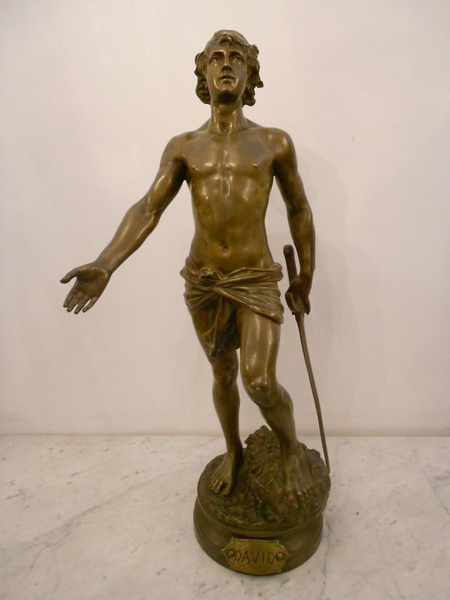 "Grand Bronze ""david"" époque XIXe Signé Adrien Etienne Gaudez"