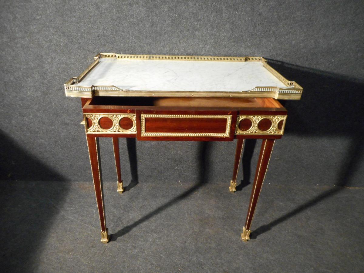 XIXth Century Table In Mahogany And Gold Bronze-photo-2