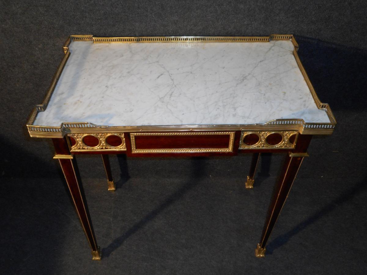 XIXth Century Table In Mahogany And Gold Bronze-photo-3