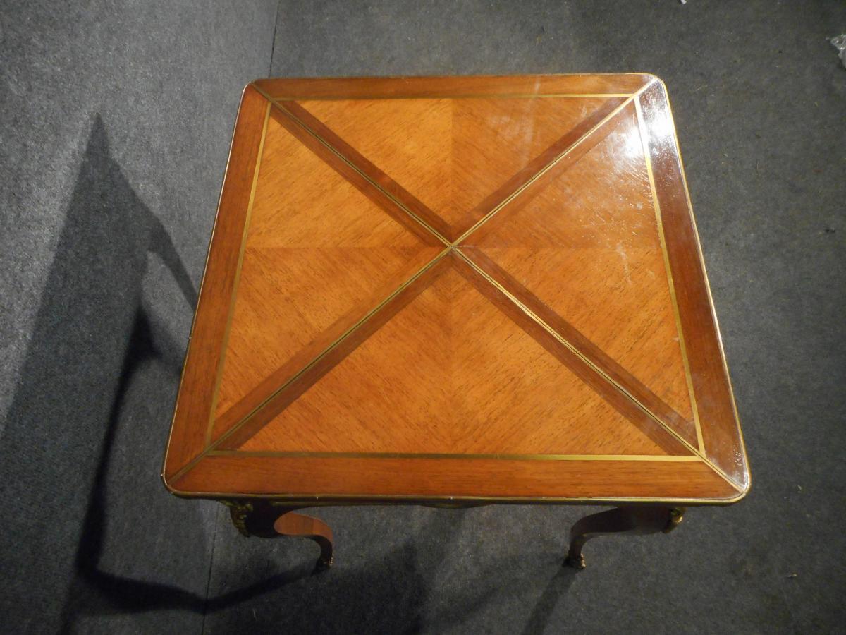 Table A Jeu Dite Mouchoir époque XIXe En Marqueterie Et Bronze Doré-photo-3