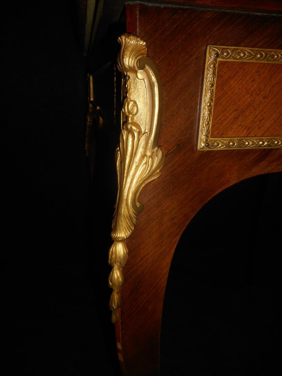 Table A Jeu Dite Mouchoir époque XIXe En Marqueterie Et Bronze Doré-photo-4