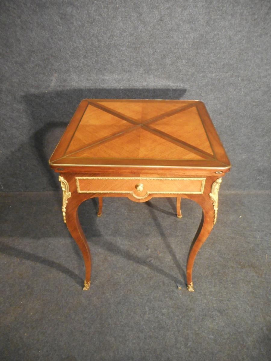 Table A Jeu Dite Mouchoir époque XIXe En Marqueterie Et Bronze Doré-photo-1