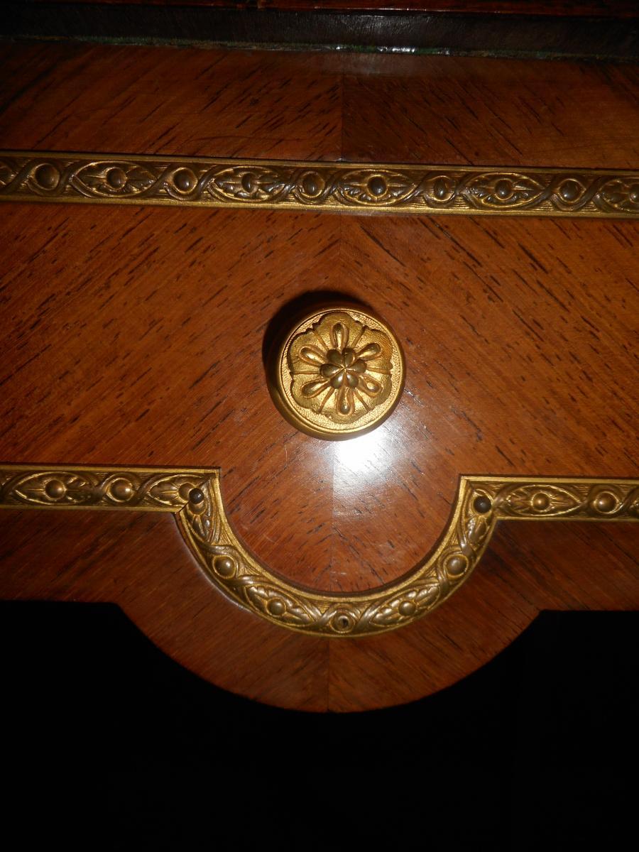 Table A Jeu Dite Mouchoir époque XIXe En Marqueterie Et Bronze Doré-photo-2