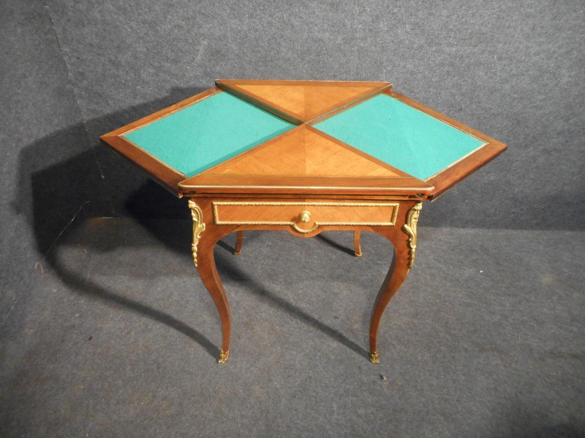 Table A Jeu Dite Mouchoir époque XIXe En Marqueterie Et Bronze Doré-photo-5
