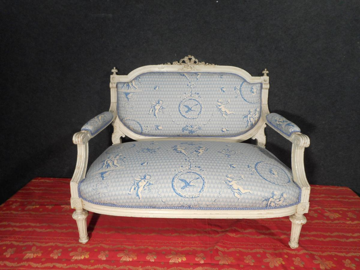 Petit Canapé Laqué époque XIXe