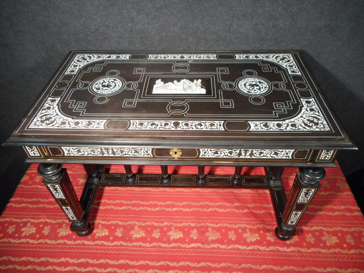Italian Table Millieu Nineteenth Time With Ivory Inlay