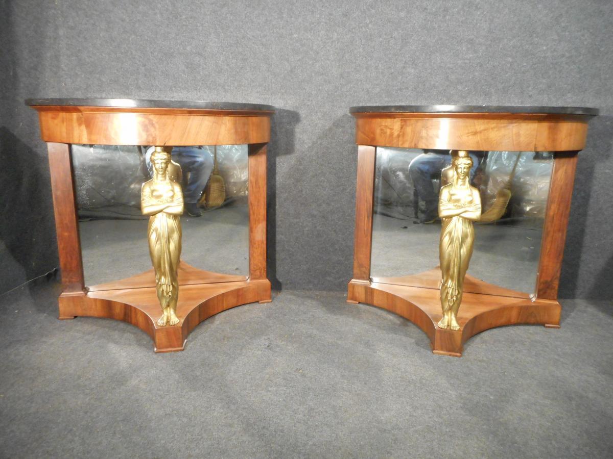 Pair Of Console Premier Empire Mahogany And Caryatids Gilt Bronze Attibué Jacob