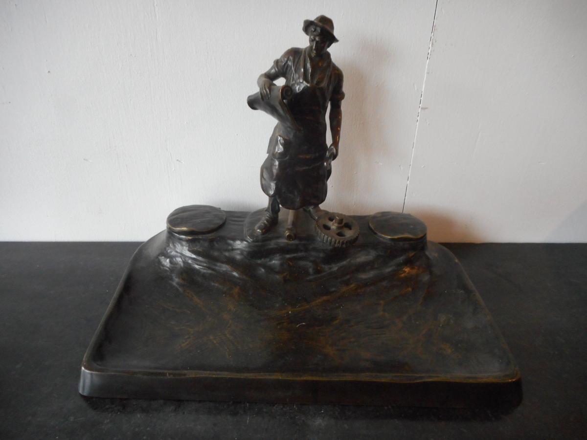 Grand Encrier En Bronze époque XIXème Avec Personnage