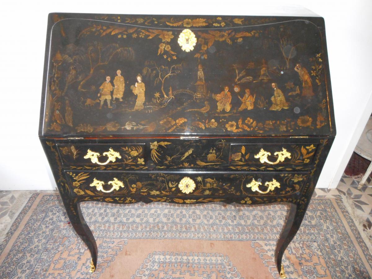 Bureau De Pente époque Louis XV En Laque De Chine