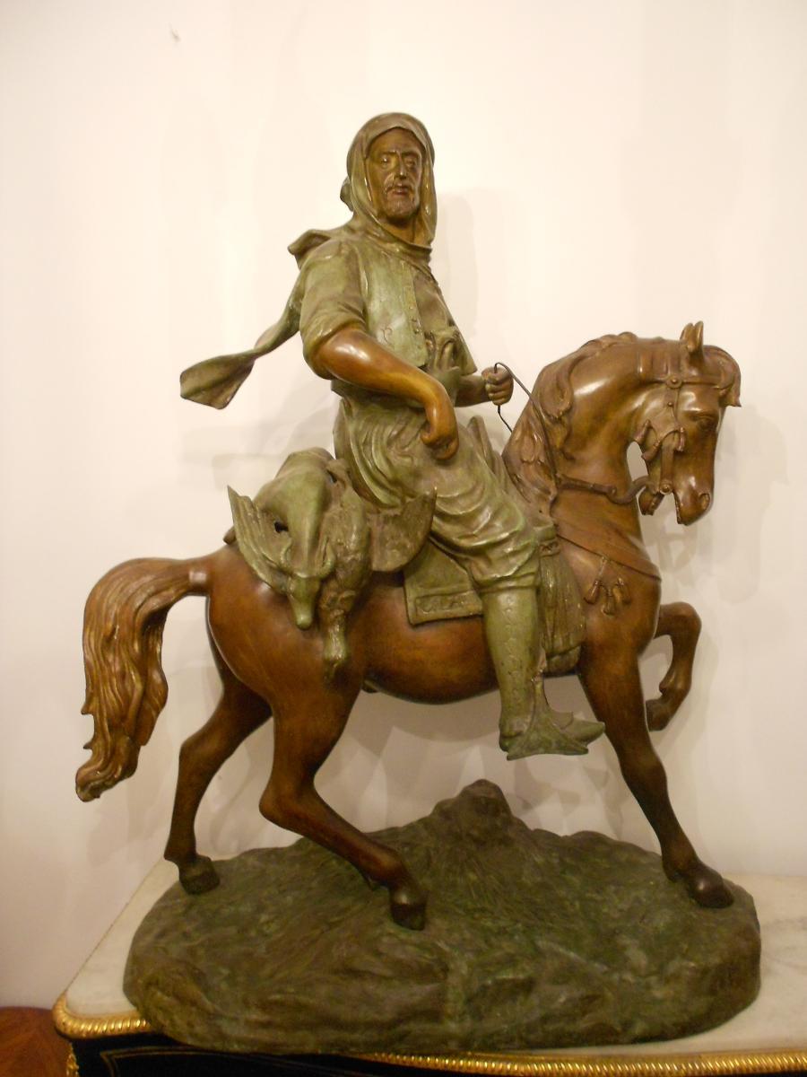 Important Bronze Cavalier Maure Retour De Chasse Signe Barge Fils